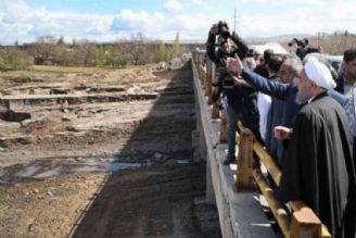 بازدید رئیس جمهور از مناطق سیل زده آذربایجان شرقی